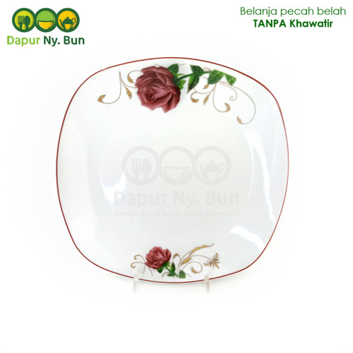 Foto Produk Piring Saji Ceper Kotak Motif Golden Rose 02 Ukuran 9,5 Inch dari Dapur Ny.Bun