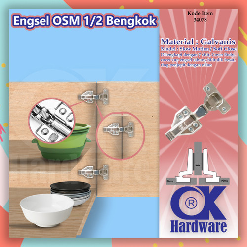Foto Produk Engsel Sendok OSM 1/2 Bengkok OK Hardware Hydraulic Slow Motion dari WINSTON-OK OFFICIAL STORE