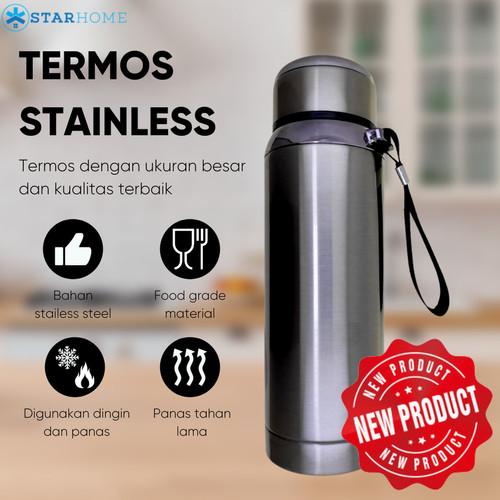 Foto Produk Termos Air Panas Premium Tumbler Stainless Steel KH-857 600ml - Hitam - Abu-abu dari TokoUsbcom