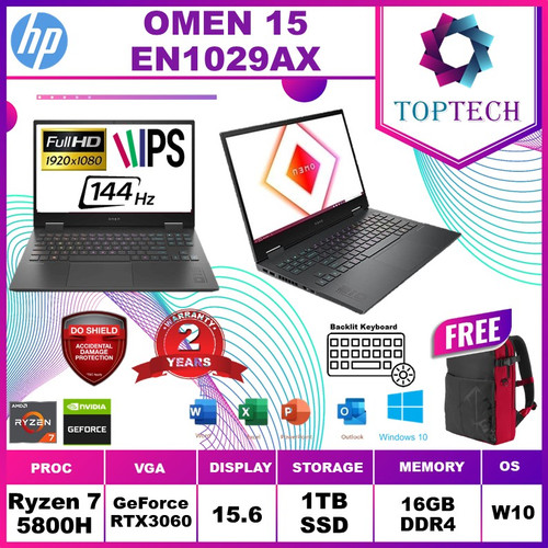Foto Produk HP Omen 15 en1029AX - Amd Ryzen 7 5800H 16GB 1TBssd RTX3060 6GB 144Hz - +PAKETANTIGORES dari Top Tech