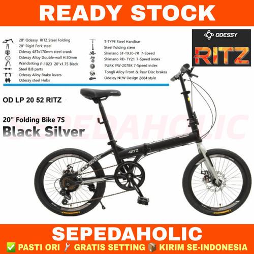 Foto Produk Sepeda Lipat 20 Inch ODESSY 20 52 RITZ SHIMANO ORIGINAL 7 SPEED - BLACK SILVER, 16 Inch dari Sepeda Holic