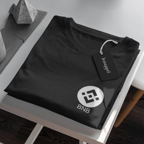 "Foto Produk Crypto/Saham ""BNB Binance"" - Kaos Cryptocrency/Kais Bitcoin Binance - Hitam, S dari Kaosan id"