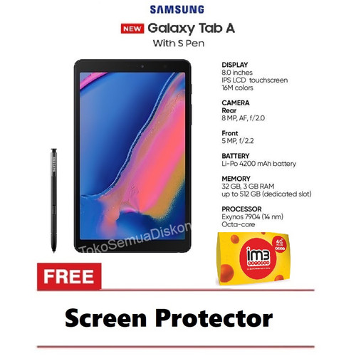 "Foto Produk Samsung Galaxy Tab A 8.0 2019 S-Pen P205 3/32GB Tablet 8"" Resmi SEIN - Gray dari Semua Diskon"