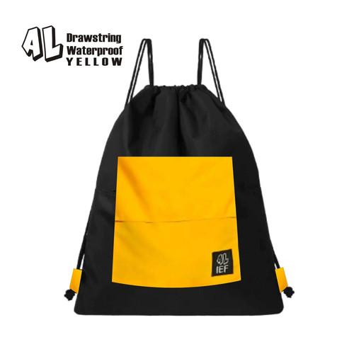 Foto Produk Tas Serut / String Bag / Ransel Pria Wanita Motif Saku Kuning Anti Air - SAKU KUNING dari aliefembroidery