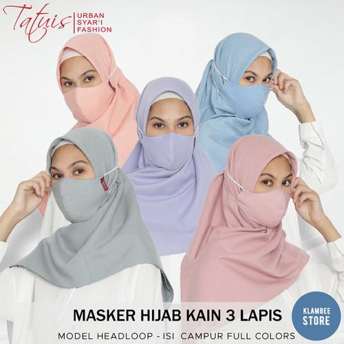 Foto Produk Masker Hijab Kain 3 Lapis Headloop Tatuis 1 pack isi 5pcs - Polos 10 dari Klambeestore