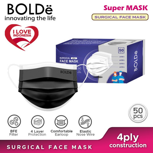 Foto Produk BOLDe Super Mask Surgical Mask 4 Ply 50pcs - Hitam dari BOLDe Official Store