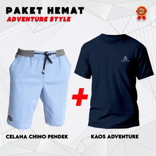 Foto Produk PAKET HEMAT Celana Pendek Pria Chino Plus Kaos ANTARESTAR Keren - L dari Antares Star