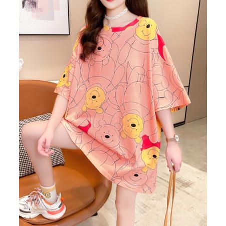 Foto Produk Cotton Tee Style Jepang Model Semi Dress Pooh And Piglet - Abu-abu dari Grosir Korean style