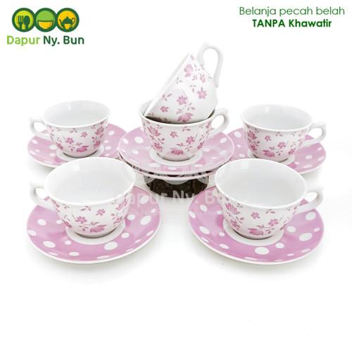 Foto Produk 6 Pasang Cangkir Set / Cangkir + Saucer Kopin Royal Heritage - Merah Muda dari Dapur Ny.Bun