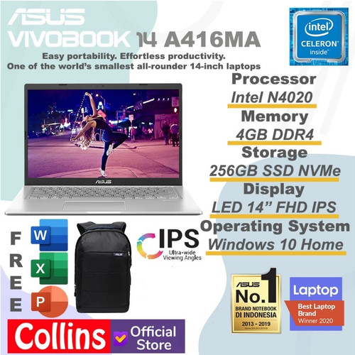 "Foto Produk ASUS VivoBook 14 A416MA - N4020 DDR4 4GB SSD 256GB 14"" FHD IPS W10 OHS dari Collins Official"