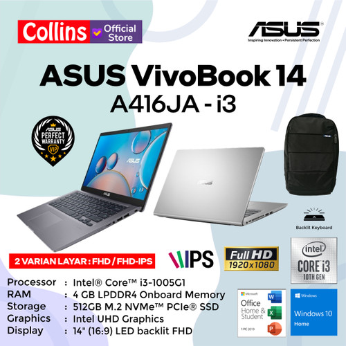 "Foto Produk LAPTOP ASUS VIVOBOOK A416JA I3-1005G1 4GB 512GB 14"" W10 KB BACKLIT OHS - 14"" FHD dari Collins Official"