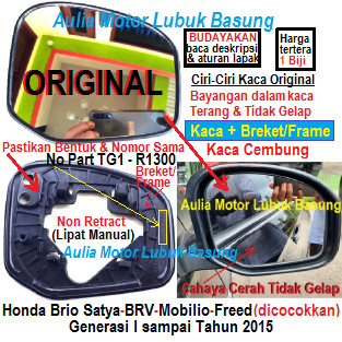 Foto Produk kaca spion ori non retract brio satya freed mobilio brv 2015 kebawah R dari Aulia Motor Lubuk Basung