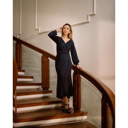 Foto Produk Lila Wrap Dress - Dark Blue - S dari At Vezzo