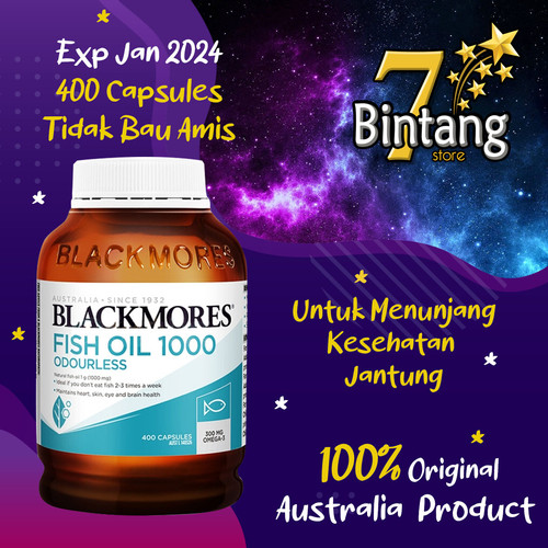 Foto Produk Blackmores Odourless Fish Oil 1000 - 400 Capsules (Aussie) dari Tujuh Bintang Store