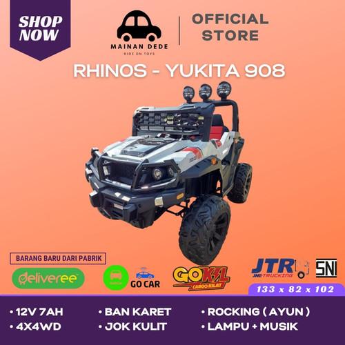 Foto Produk Mainan Mobil Aki Anak Jeep Rhinos 908 Yukita JOK KULIT BAN KARET - Putih dari Mainan Anak Dede