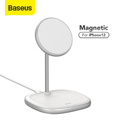 Foto Produk BASEUS WIRELESS CHARGER HOLDER STAND APPLE MAGSAFE CHARGER IPHONE 12 - Putih dari Baseus Official Store