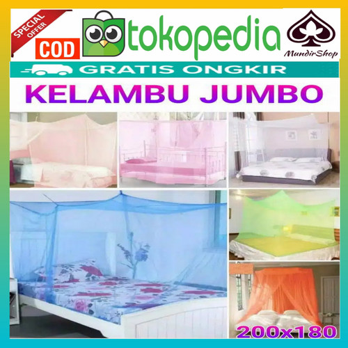 Foto Produk kelambu polos kotak kelambu nyamuk kotak murah ukuran 180x200cm - Putih, 180x200cm dari mundirshop