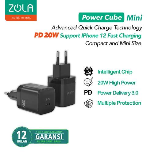 Foto Produk Zola Power Cube Mini Charger PD 20W iPhone 12 QC 3.0 4.0 PD 3.0 AFC - Hitam dari Zola Indonesia