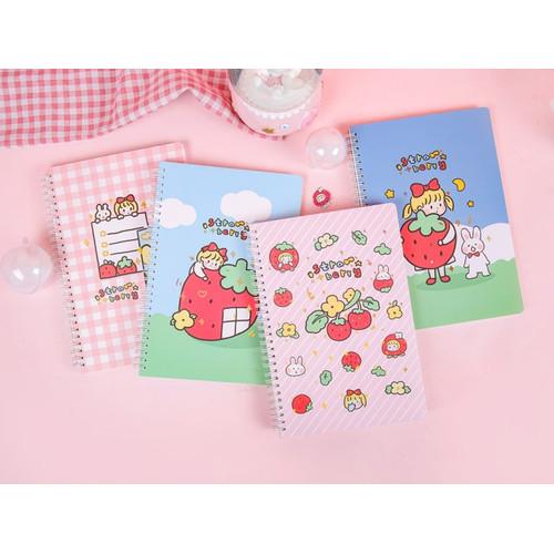 Foto Produk Strawberry Girl Spiral Ruled Notebook B5 dari Pinkabulous