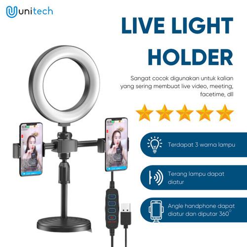 Foto Produk Ring Light Double Holder Stand Holder Hp Live Light Holder Vlog Selfie dari TokoUsbcom