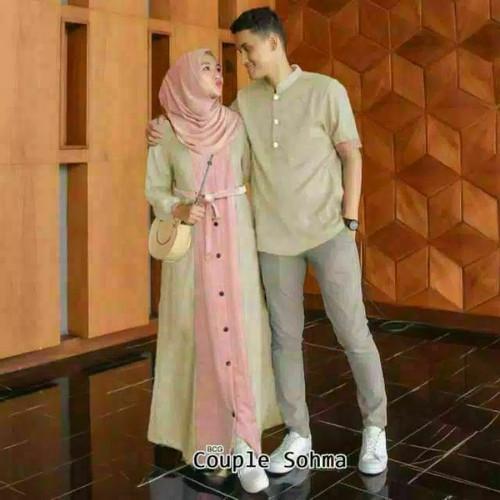 Foto Produk Couple Sohma Koko Gamis Casual Busui Simpel dari DAFINA COLLECTION