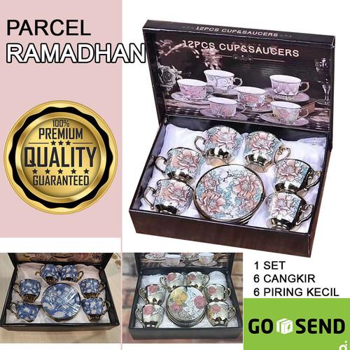 Foto Produk Paket Parcel Cangkir Teko Keramik Parsel Set 6 Cangkir 6 Piring Eropa dari Maslinda Store