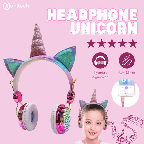 Foto Produk Unitech Headset Earphone Headphone Anak Unicorn Bando + Microphone - pink dari TokoUsbcom