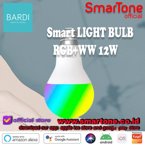 Foto Produk BARDI Smart LIGHT BULB RGB+WW 12W Wifi Wireless IoT - Home Automat CBG dari SmartOne WDG Relx