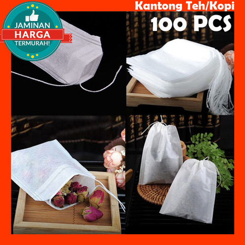Foto Produk Kantong Teh Kantung Kopi Kertas Saring Tea Bag Coffee Teabag 100pcs dari ono id