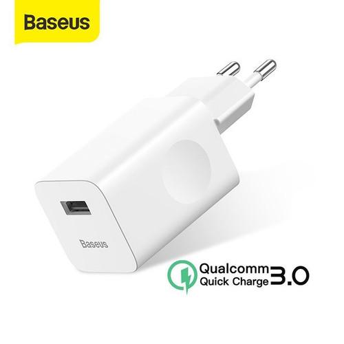 Foto Produk KEPALA CHARGER BASEUS 24W QUICK CHARGER QC 3.0 - Putih dari Snowphone