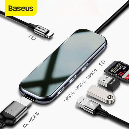Foto Produk BASEUS USB TYPE C HUB TO HDMI 4K 3xUSB3.0+SDTF+PD - 7 port ekspansi dari Baseus Official Store