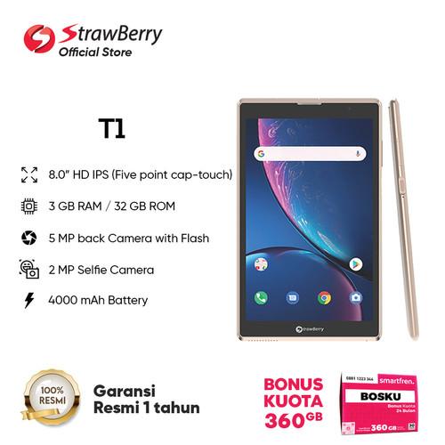 Foto Produk Strawberry T1 Tablet 8 Inci ROM/RAM 3GB/32GB 4G 4000 mAh Garansi Resmi - Emas dari Strawberry Official