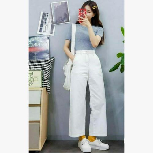 Foto Produk MYREDO - Celana Jeans Boyfriend Wanita Model Kulot Audrie - Putih, 30 dari myredo