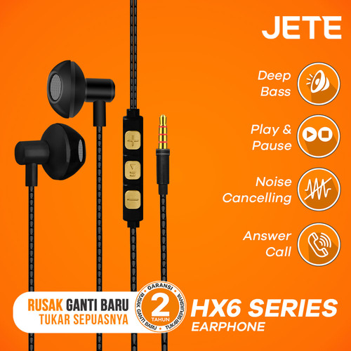 Foto Produk Headset   Headphone   Handsfree   Earphone JETE HX6 Deep Bass - Abu-abu dari JETE Official Surabaya