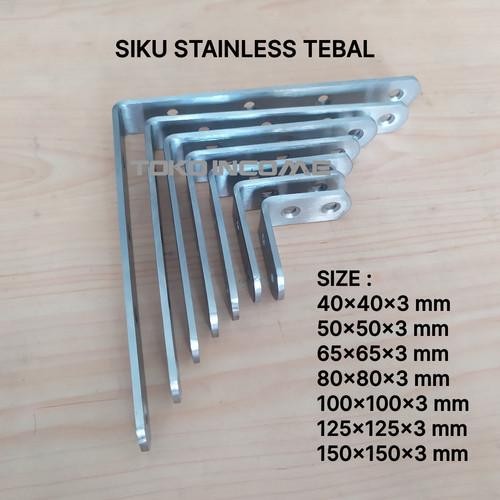 Foto Produk Siku L 125 x 125 x 20 mm Tebal 3 mm Stainless Steel Kuat Penyangga Rak dari Toko Income