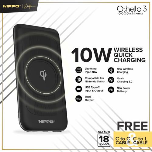 Foto Produk Hippo Elite Othello 3 Gen2 10000 mAh Power Bank Wireless PD - Hitam dari Hippo Elite