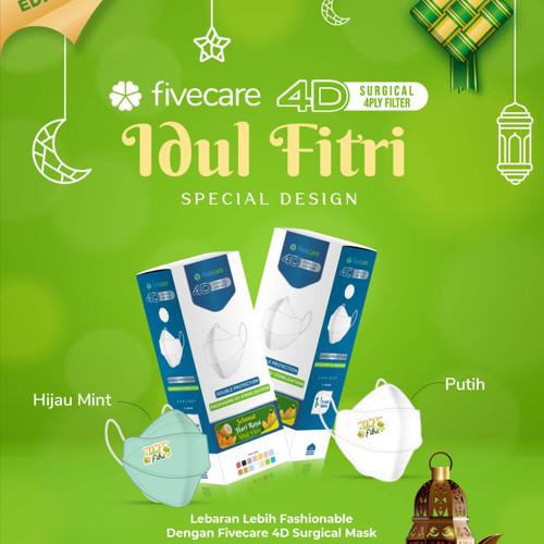 Foto Produk Masker Five Care Earloop 4Ply / Masker Medis 4D Fivecare / Evoplusmed - Edisi Lebaran dari Gudang Sehat Store