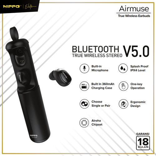 Foto Produk Hippo Elite Airmuse True Wireless Earbuds Bluetooth V5.0 Garansi Resmi - Hitam dari Hippo Elite