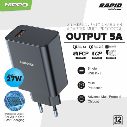 Foto Produk HIPPO Rapid MP 27W Quick Charger Fast Charging Universal MultiProtocol - Adaptor Only dari Hippo Elite