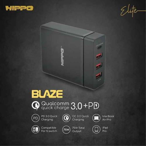 Foto Produk Hippo Elite Blaze Adapter Charger 75 W (Value Pack Inc. 3 pcs Cable) - Hitam dari Hippo Elite