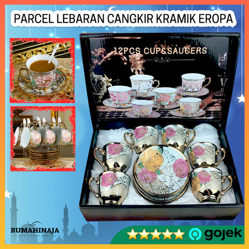 Foto Produk Parcel Kado Cangkir Teh Keramik Peralatan Minum Set 6 in 1 Corak Eropa - Multi Warna dari RUMAHINAJA