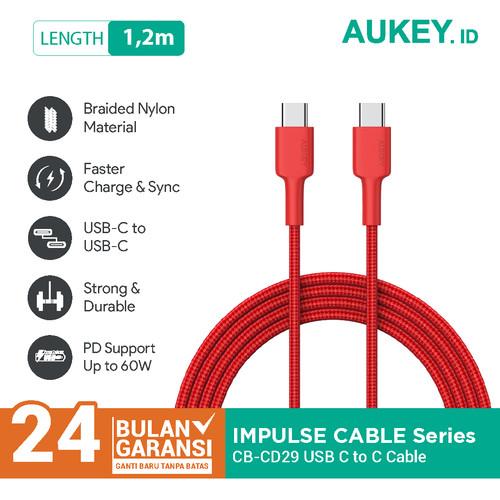 Foto Produk Aukey Cable CB-CD29 USB C to C1.2m Red - 500431 dari Aukey Makassar