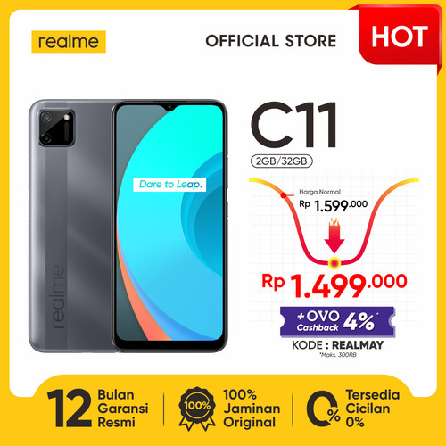 "Foto Produk realme C11 2/32GB [Helio G35, 5000mAh, 6.5"" Mini-drop Fullscreen] - Abu-abu dari realme Official Store"