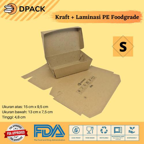 Foto Produk PAPER LUNCH BOX BAHAN KRAFT / KRAFT FULL LAMINASI SIZE S, M & L - Small dari Dpack Indonesia
