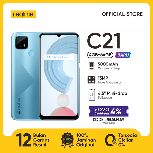 "Foto Produk HP realme C21 4/64GB [5000mAh, 13MP AI Triple Camera, 6.5"" Mini-drop] - Cross Blue dari realme Official Store"