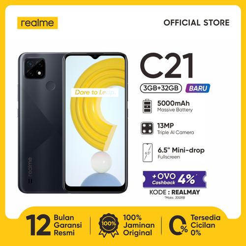 "Foto Produk HP realme C21 3/32GB [5000mAh, 13MP AI Triple Camera, 6.5"" Mini-drop] - Cross Black dari realme Official Store"