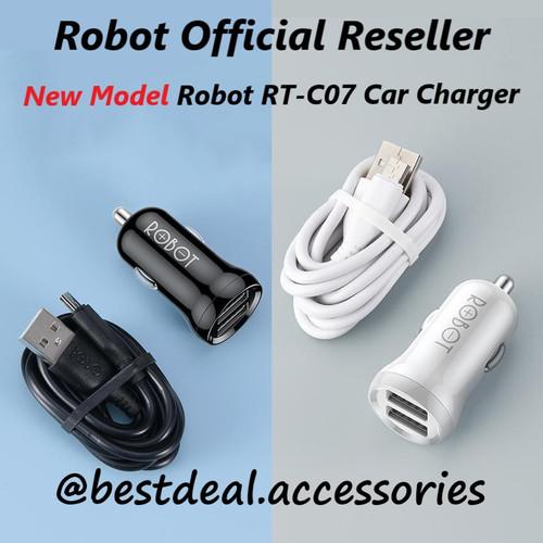 Foto Produk Robot RT-C07 2.4A Dual USB Car Charger Saver Mobil (new model RT-C06) - Hitam dari bestdeal official