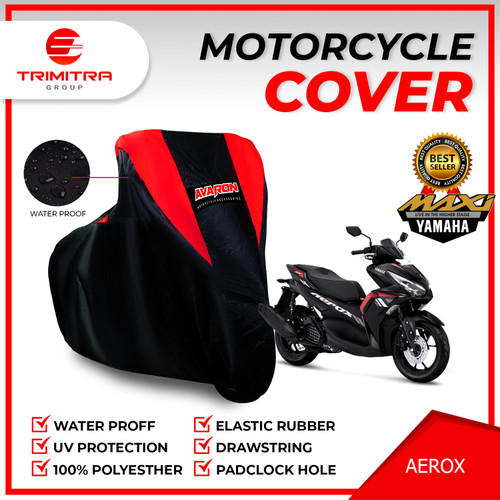 Foto Produk Sarung Motor AEROX/ Penutup Pelindung Body Cover Motor Merk AVARON - Merah, L dari Trimitra Group