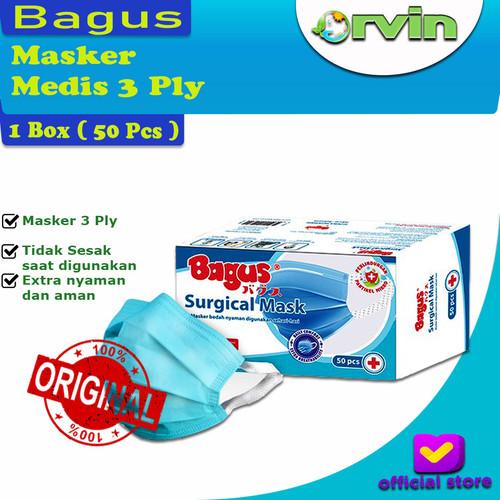 Foto Produk Bagus Surgical Mask / Masker 3 Ply / Masker Medis / 1 Box Isi 50 pcs dari Orvin Health & Beauty