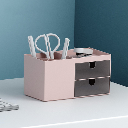 Foto Produk Minimalist 2 Drawer Desktop Storage - Tempat Alat Tulis dari Pinkabulous